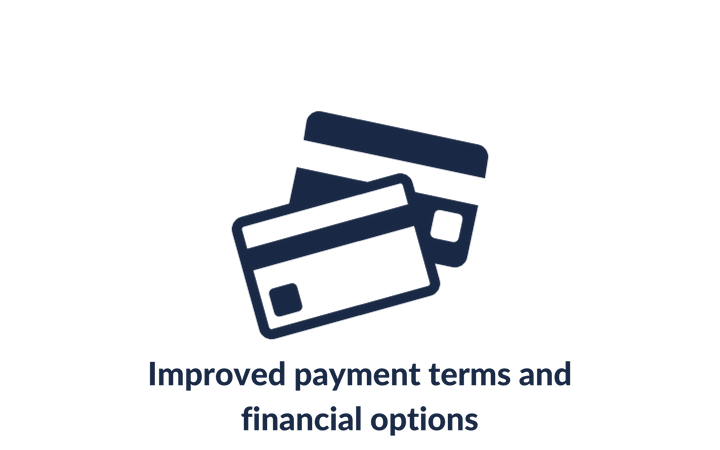 Improved payment terms and financial options