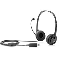 HP Stereo USB Headset Head-band Black